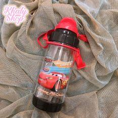 Bình nước có ống hút và dây đeo hình Spiderman, Avengers – Ironman, xe đua Car95, màu đỏ cho học sinh, bé trai – 400ml – (6.5×6.5x19cm)
