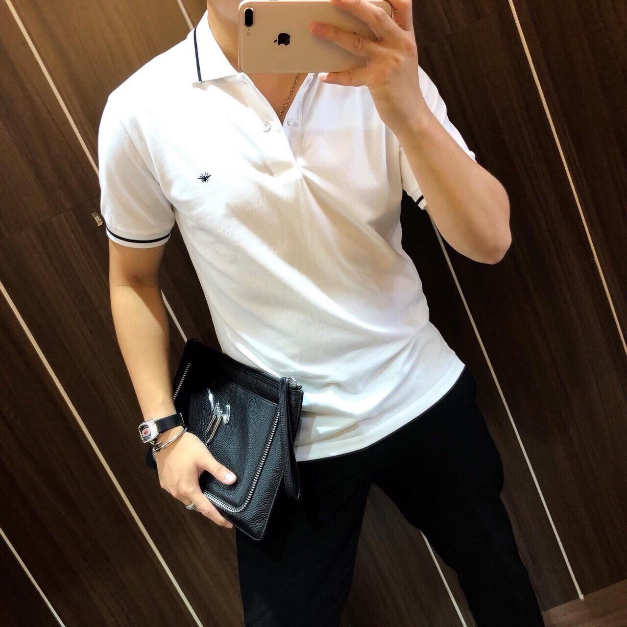 Áo Polo nam có cổ ngắn tay Hamino màu trắng, đen vải thun cotton co giãn form basic cao cấp...