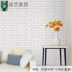 10m giấy dán tường giả gạch trắng ( khổ rộng 45cm, có sẵn keo)