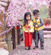 Bộ Hanbok gấm cho bé trai bé gái từ 12kg đến 26kg( màu Đỏ, vàng, hồng)