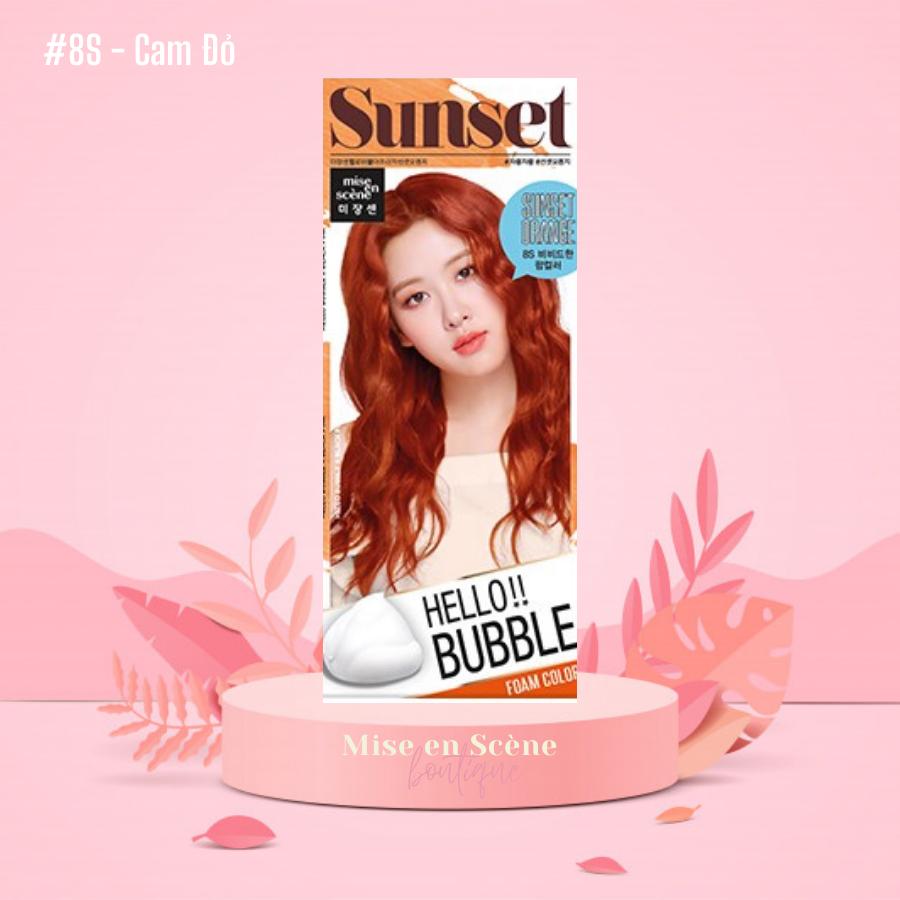 Thuốc Nhuộm Tóc Hello Bubble Foam x BLACKPINK – Chính hãng Mise En Scene mẫu BlackPink – Màu Africa Sunset Orange