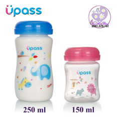 Bình trữ sữa Upass cổ rộng 150ml/ 250ml có thể gắn thêm núm ti nhựa PP không BPA