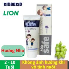 Kem đánh răng cho bé 2-10 tuổi Lion Kids Safe, hương nho, không ảnh hưởng khi nuốt | Nhập khẩu Hàn Quốc, date 2023