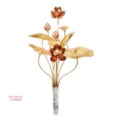 Bó hoa sen bằng đồng vàng pha đỏ 10 bông (cỡ nhỏ)