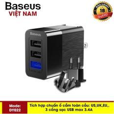 Củ sạc du lịch tích hợp các chuẩn ổ cắm Quốc Tế EU, US, UK,.. 3 cổng sạc Baseus với 2 chân sạc USB chuyên dụng và 1 chân sạc USB sạc nhanh cùng với bộ chân sạc dễ dàng thay đổi