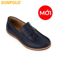 Giày mọi nam da bò SUNPOLO MU2581 (Xanh Navy)