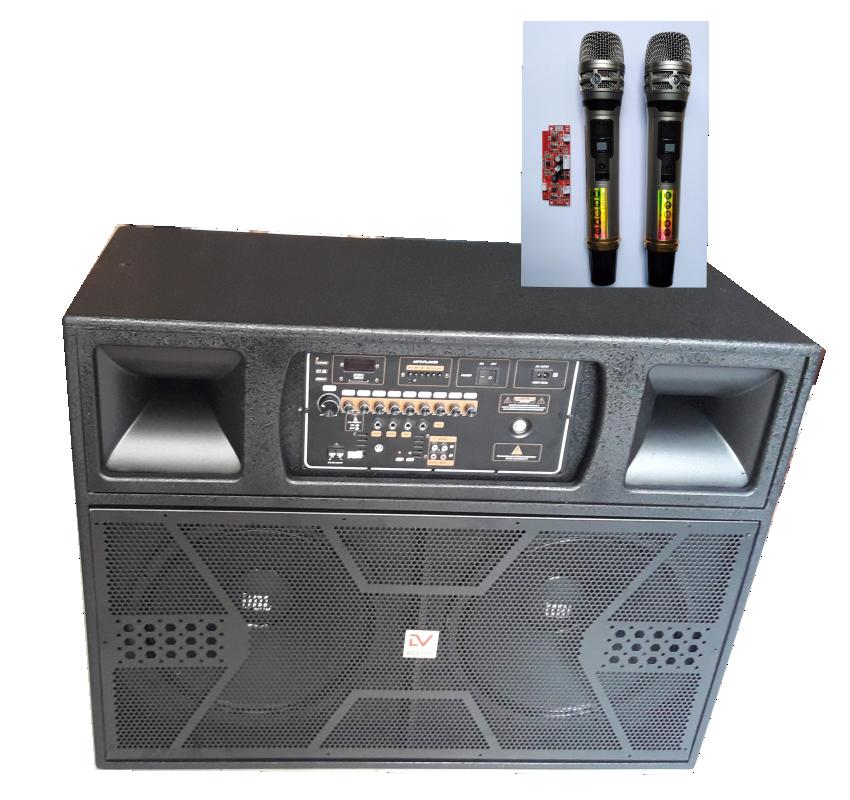 Tủ Loa Kéo Di Động 4 Tấc Đôi TK215 Mic Nhôm UHF