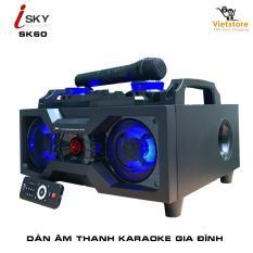 Dàn âm thanh tại nhà – dàn karaoke gia đình- loa vi tính công suất lớn hát karaoke âm thanh đỉnh cao có kết nối Bluetooth USB Isky – SK60 (Tặng kèm Micro không dây) – Phân phối bởi Vietstore