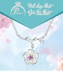 Dây chuyền bạc Hoa Mai Hồng – Trang sức bạc Panmila (TS-DC-A4H)
