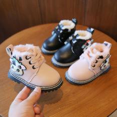 Giày Bé Gái Da PU Cao Cấp Lót Lông Đế Mềm Phong Cách Hàn Quốc Size 19-20 mã YUN06