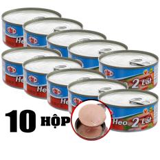 Lốc 10 Hộp Thịt Heo 2 Lát Hạ Long Đóng Lon 150g, Thịt Sạch, Vị Ngọt, Thơm, Bùi, Dùng Ăn Liền, Hạn Sử Dụng 2023