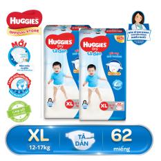 [GIẢM ĐẾN 40K ĐƠN 399K] Bộ 2 Tã/Bỉm Dán Huggies Dry Super Jumbo XL62 – Gói 62 miếng (Cho bé 12 – 17kg)