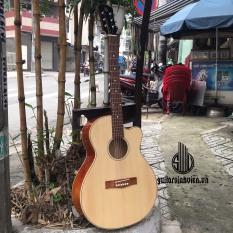 Đàn guitar acoustic cho người mới – Kèm 7 phụ kiện – Bảo hành 1 năm – Aciton thấp dễ tập – Đàn thiết kế dây sắt chơi được đệm và solo