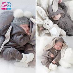 Body dài tay cotton, body tai thỏ đáng yêu cho bé Áo liền quần cho bé trai bé gái Hàng Quảng châu xuất Nhật SL12