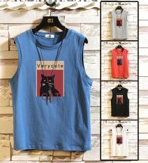 [Mẫu Mới] Áo Tanktop Nam Cổ Tròn Phối Họa Tiết Con Mèo In Chữ VERY CUTE Cá Tính Thời Trang Yodi TOP NAM 1000166
