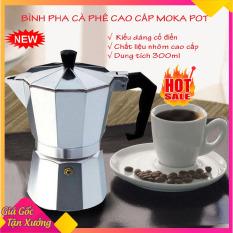 Bình pha cà phê Moka Pot 6 tách 300ml bằng Nhôm cao cấp, máy pha cà phê (cafe), ấm pha cà phê chuyên dụng tiện lợi hơn Phin pha cà phê kiêm bình pha trà phù hợp với gia đình, văn phòng