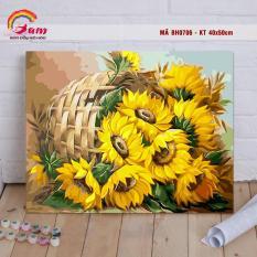 Tranh tự tô màu sơn dầu số hóa DIY Có khung các loại hoa – Mã BH0706 Giỏ hoa hướng dương Tranh Trang trí Phòng khách sang trọng Làm quà tặng Giảm Stress