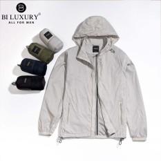 Áo khoác gió 1 lớp Biluxury kháng nước nhẹ thiết kế giấu mũ độc đáo 4AG1T001