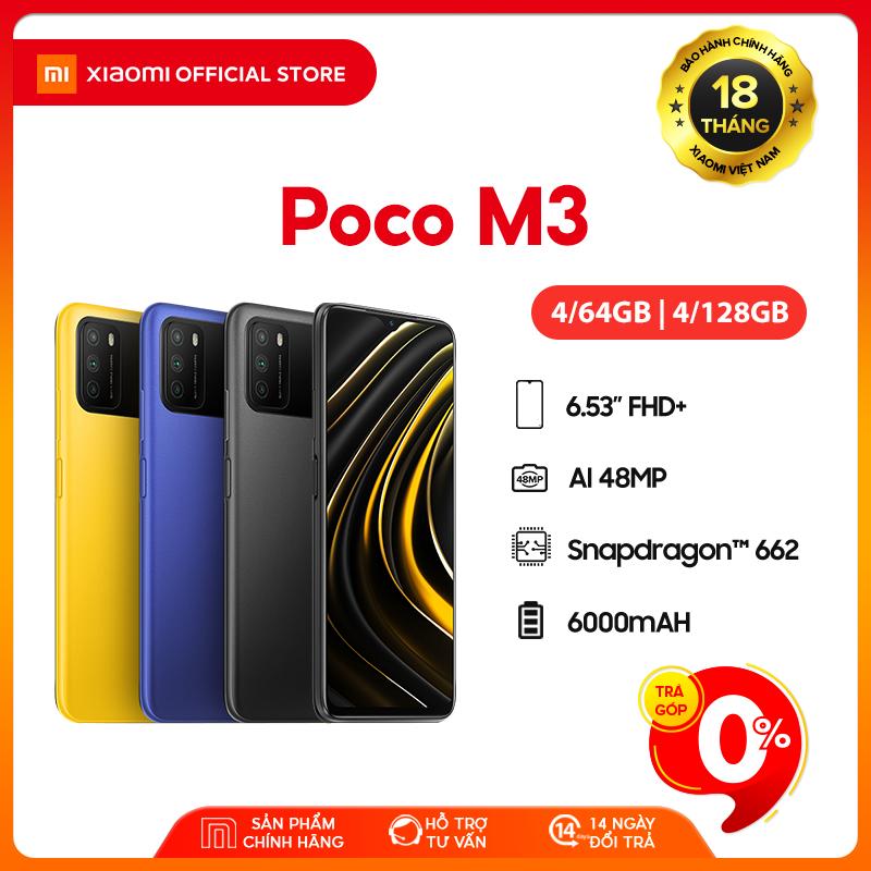 [Trả góp 0%]Điện thoại POCO M3 4GB/64GB | 4GB/128GB – Chip Snapdragon 662 Màn hình 6.53″ Pin 6000mAH Sạc nhanh 18W Camera sau 48MP Android 10 MIUI 12 – BH Chính hãng 18 tháng