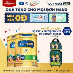 [Thu thập voucher giảm thêm 100K] Bộ 2 hộp sữa bột Enfagrow 4 cho trẻ trên 2 tuổi 1.7kg + Tặng 1 bộ vali + túi xách cho bé Độc quyền Enfa & Lazada