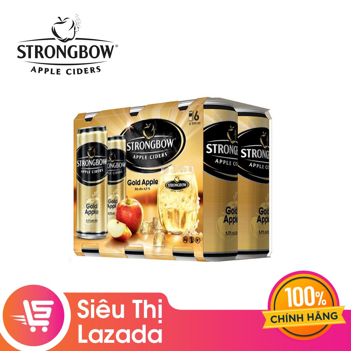 [Siêu thị Lazada]Lốc 6 Lon cao Strongbow vị Gold Táo nguyên bản (330ml x 6 Lon) ngọt dịu, thanh mát kèm chát nhẹ thơm ngon