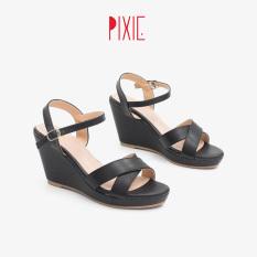 Giày Sandal Đế Xuồng 7cm Quai Chéo Màu Đen Pixie P207
