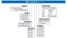 Van chia khí , Van khí nén , Van điện từ Airtac 4M210-08 ( Van 5/2 ) 220VAC 24VDC Solenoid Valve