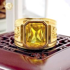 Nhẫn Nam Kiểu Mỹ N2 Mạ Vàng 24K Rồng Vàng Đính Đá Thạch Anh Vàng – Bảo Hành 06 Tháng – Không Phai Màu – Không Dị Ứng