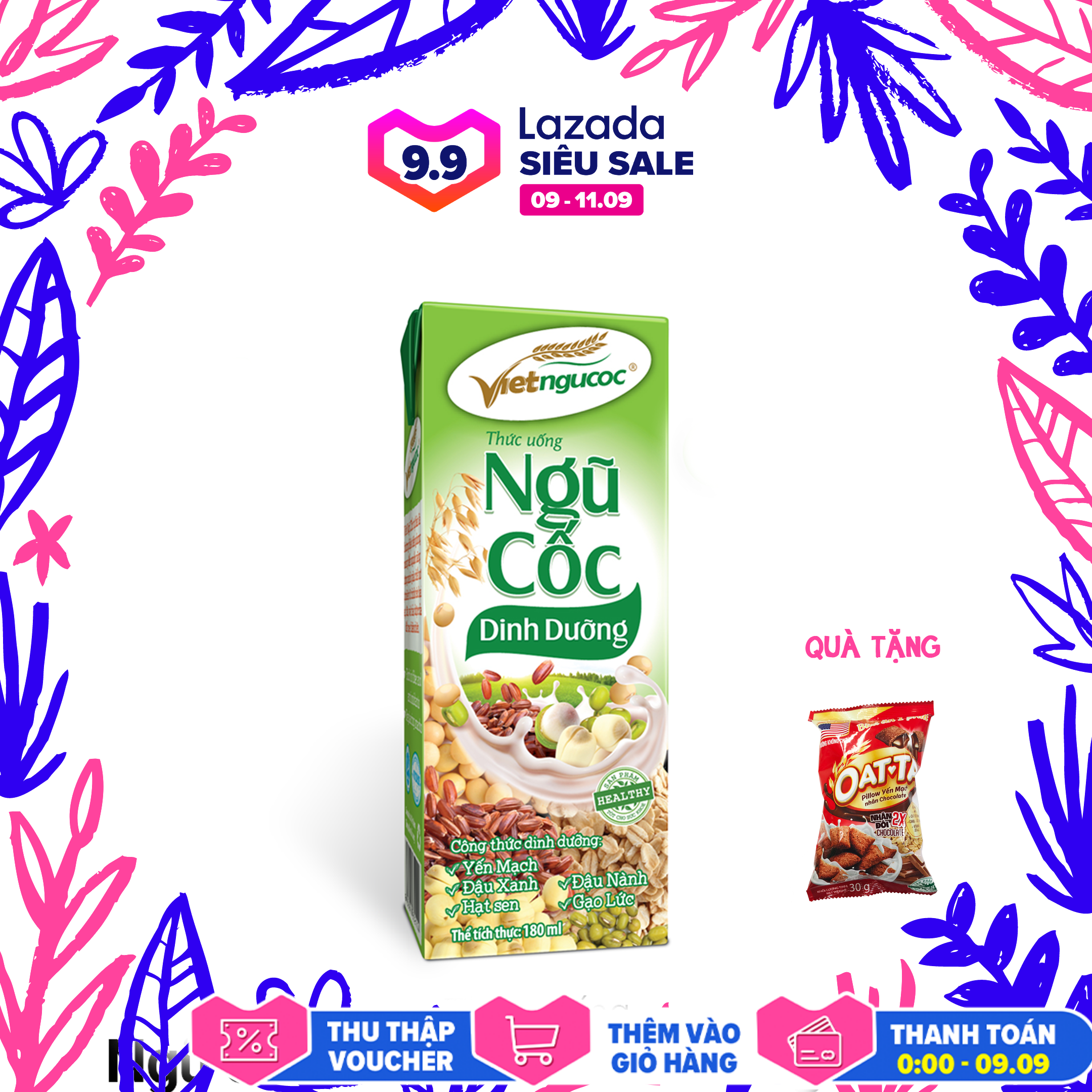 Thức uống Ngũ cốc dinh dưỡng Việt Ngũ Cốc lốc 4 hộp 180ml – Tặng Oatta Pillow Yến mạch Chocolate
