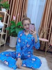 Đồ bộ Pijama ĐÔRÊMON Tay Dài Quần Dài vải KATE mềm mịn siêu xinh orishop – DBKTOR02