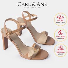 Carl & Ane – Giày sandal thời trang nữ quai ngang phối nơ đính móc khóa tinh tế cao 10cm CS007 (BR)