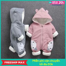 [FREESHIP MAX] Quần áo trẻ em dày dặn, ấm áp, bộ áo liền quần cho bé 0-2, bodysuit tuổi hình gấu cực dễ thương