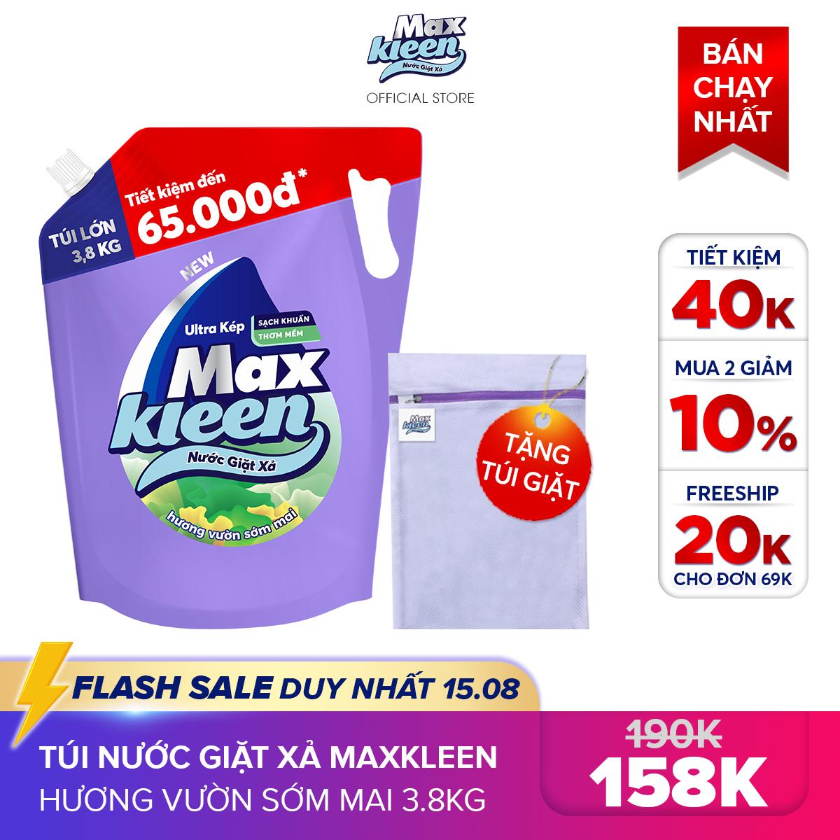 [MIỄN PHÍ VẬN CHUYỂN 20K + MUA 2 GIẢM 10%] Túi Nước Giặt Xả Maxkleen Hương Vườn Sớm Mai (3.8kg/túi)