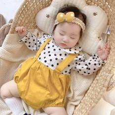[HCM]Body dài tay cho bé sơ sinh bé gái body yếm chấm bi kèm tuban cài đầu cho bé từ sơ sinh đến 1 tuổi