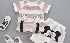 sét áo thun quần short Mickey cho bé trai năng động
