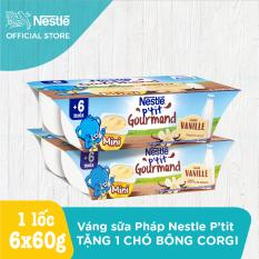 Bộ 2 lốc 6 hộp Váng sữa Nestlé P'tit Gourmand vị Vani (2x6x60g)