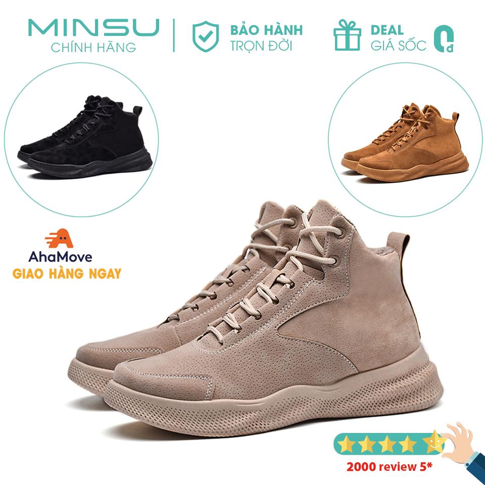 Giày Boots Cổ Cao Nam MINSU M3401, Bốt Cao Cổ Hàn Quốc Thiết Kế Da Lộn Ấn Tượng Phù Hợp Mang Giày Đi Chơi, Đi Phượt