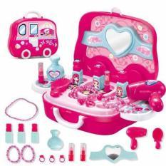 Đồ chơi va ly trang điểm dạng va ly xách tay có bánh xe di chuyển 008-917A, 19 chi tiết, màu hồng siêu xinh