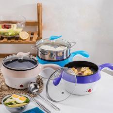 Ca nấu mì nồi lẩu đa năng có lồng hấp bằng inox, Ca điện mini nấu mì siêu tốc, Nồi Lẩu chảo điện cầm tay mini đa chức năng size 18cm – Hàng Hot 2019