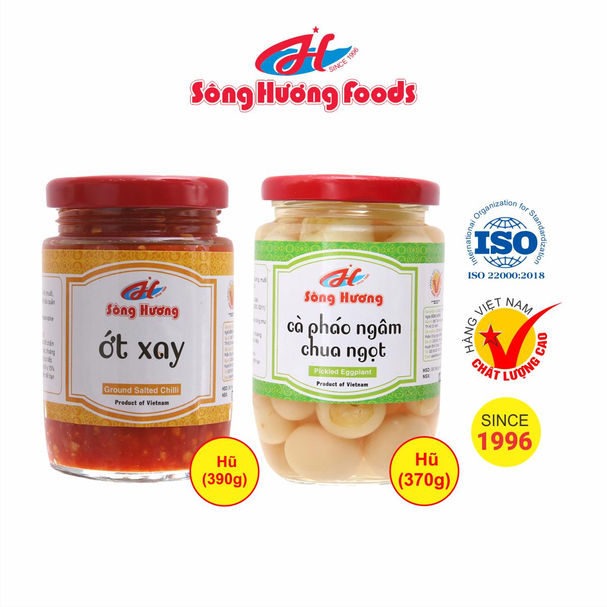 Combo 1 Hũ Cà Pháo Ngâm Chua Ngọt 370g + 1 Hũ Ớt tươi xay 390g Sông Hương Foods
