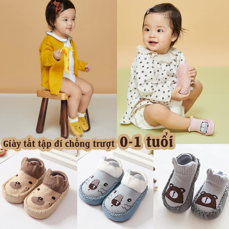 Giày tất tập đi chống trượt cho bé [0-1 tuổi] mẫu mới xinh xắn , giày vải tập đi mềm êm chân cho bé trai, bé gái