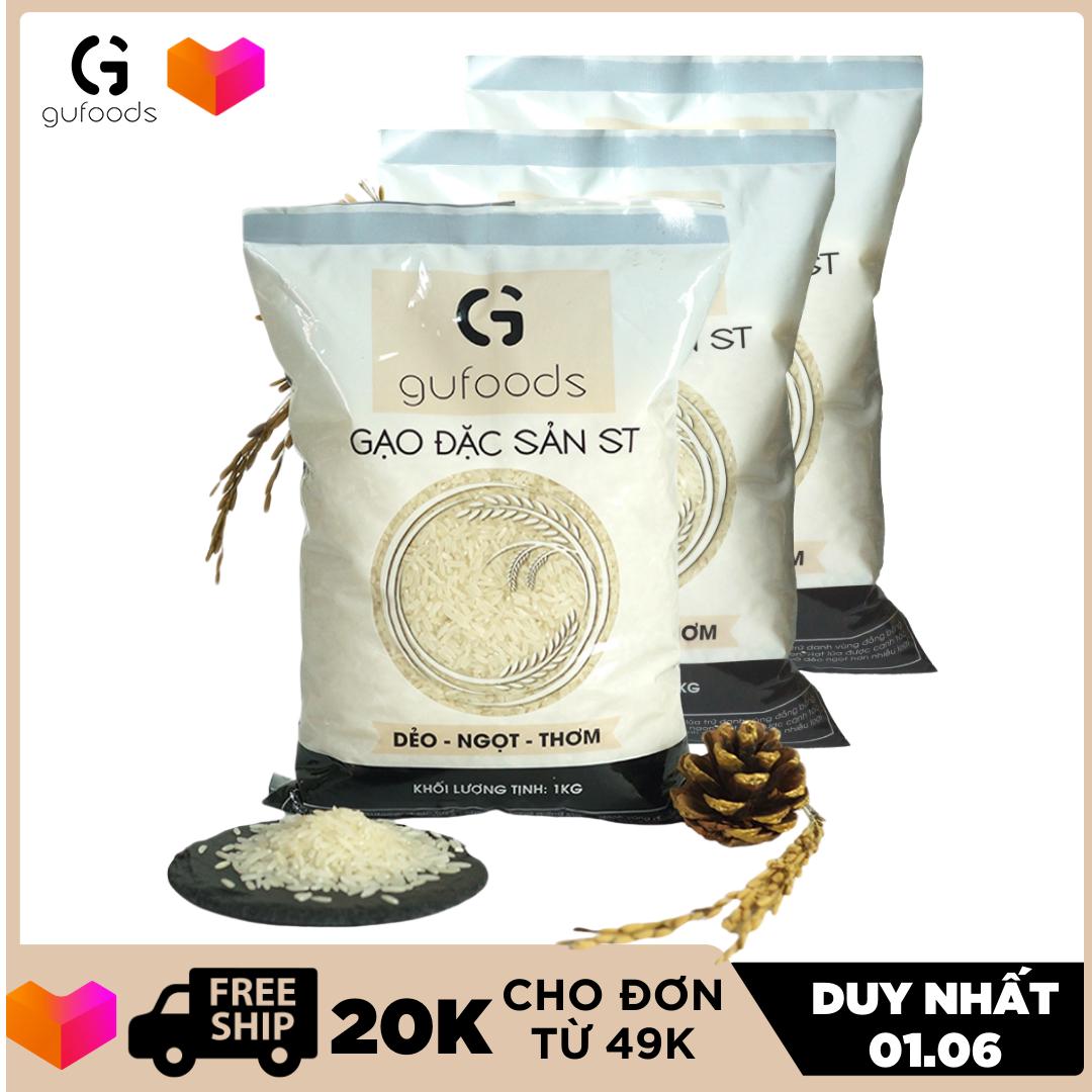 [VOUCHER GIẢM CÒN 79K] Combo 3 túi Gạo ngon đặc sản ST GUfoods (mỗi túi 1kg) (dẻo – ngọt – thơm)