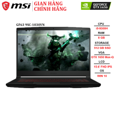 Laptop MSI GF63 9SC-1030VN i5-9300H | 8GB | 512GB | GTX 1650 4GB | 15.6″ FHD | WIN 10