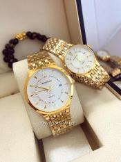 đồng hồ đôi nam nữ Baishuns dây vàng mặt trắng BS0111