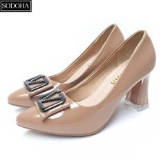 Giày cao gót đế cao 7cm đính khuy gót vuông SODOHA SDH-V359