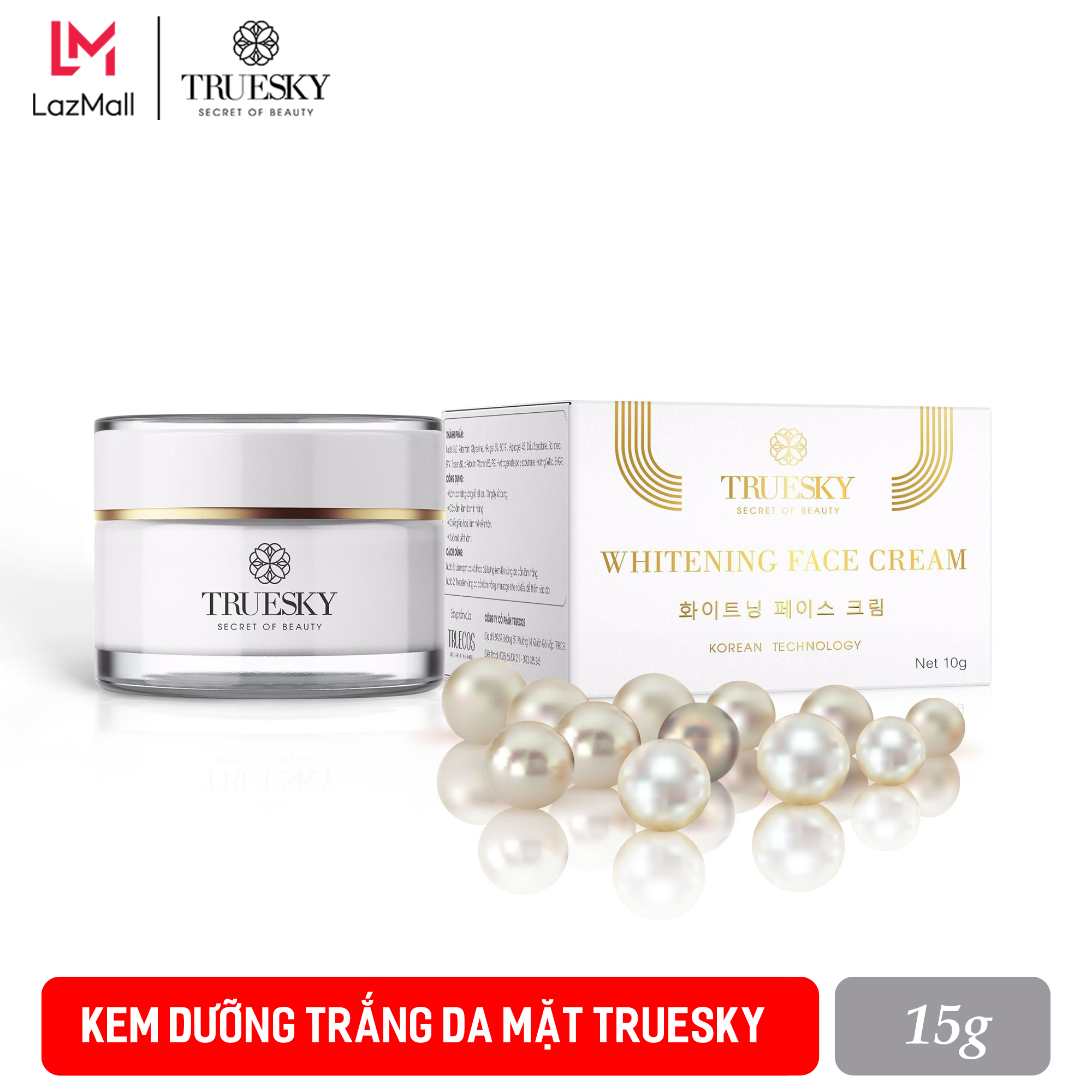 Kem dưỡng trắng da mặt Truesky dạng lotion thẩm thấu nhanh 15g – Whitening Face Cream