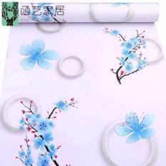 10m giấy dán tường hoa đào xanh có keo dán sẵn khổ rộng 45cm