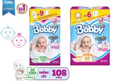 Miếng lót sơ sinh Bobby Newborn 1-108 và 2-60 miếng