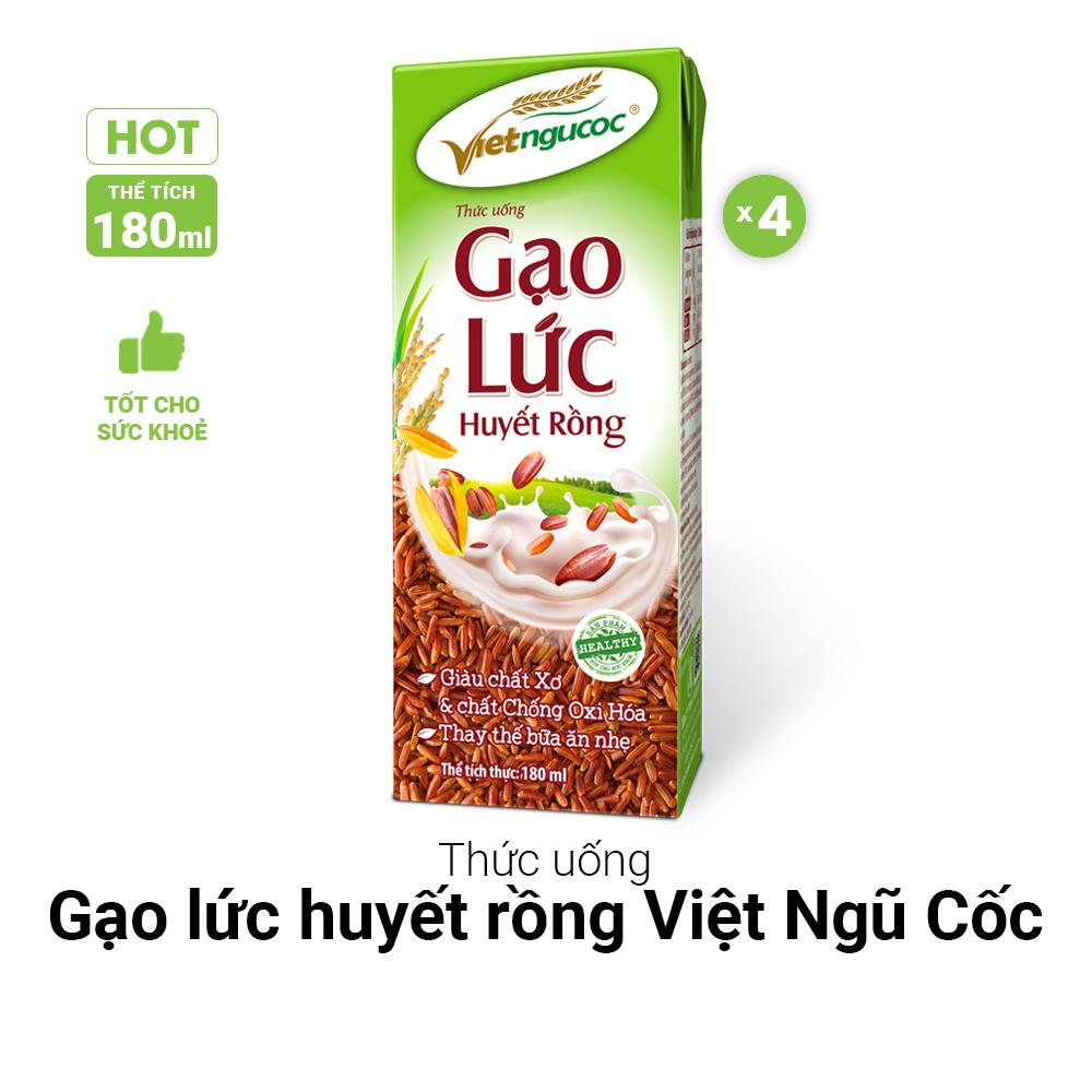 Thức uống Gạo lức huyết rồng Việt Ngũ Cốc lốc 4 hộp 180ml