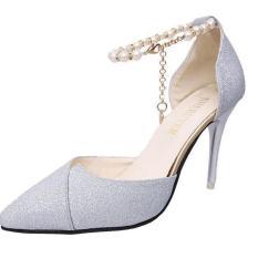 ( ẢNH THẬT ) Giày cao gót nữ 8 phân gót nhọn bít mũi chéo hạt ngọc vòng cổ chân